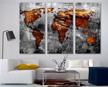 Copper Gray World Map Canvas Print Wall Art 3 Panel Split, Triptych Abstract art for room decor.