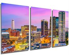 Birmingham, Alabama Skyline Metal Print wall art 3 Panel split, Triptych. HD aluminum multi panel