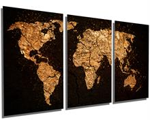 Earth Crust World Map - Metal Print wall art. 3 Panel split, Triptych HD aluminum multi panel decor
