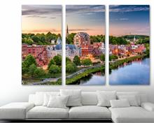 Augusta, Maine USA Wall Art Canvas Print 3 Panel Split, Triptych, home wall decor house interior art